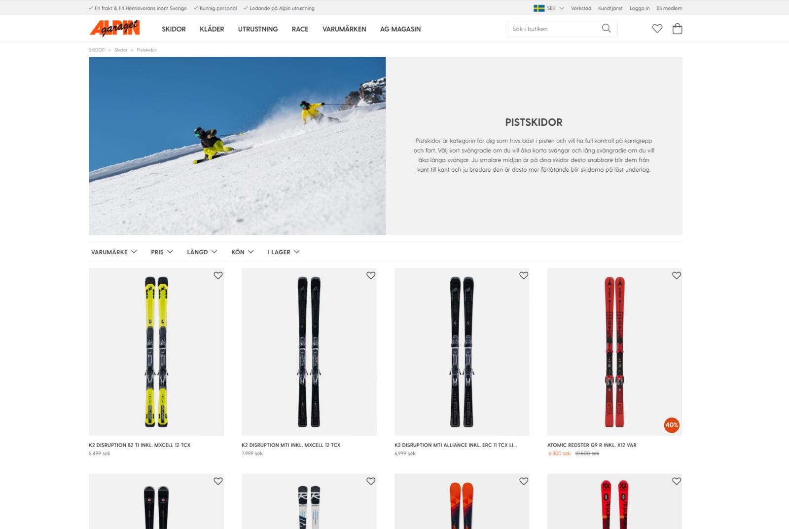 Desktopvy för alpingaraget.se